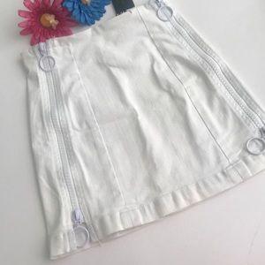 LF Skirts - LF Carmar White Margery Double Zipper O-Ring Skirt